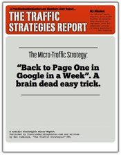 The Traffic Strategy Report #2: Back to Google Page One In A Week. A brain dead easy trick.